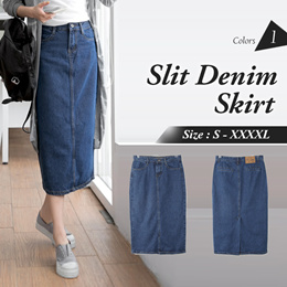 MINERAL WASHED SLIT DENIM MIDI SKIRT ★ S-XXXXL SIZE ★ PLUS SIZE ★ VARIOUS COLOR ★ OFFICE ★ TRAVEL ★