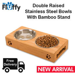 Double Raised Stainless Steel Bowls With Bamboo Stand