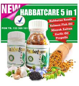Habbat Care 5 in 1 ( Propolis + Garlic oil + Salmon Fish oil ) isi 100