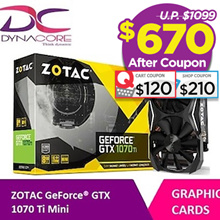 $670 Only!!!ZOTAC GeForce® GTX 1070 Ti Mini|Ready Stock|Use Qoo10 Cart Coupon and shop Coupon For More Discount