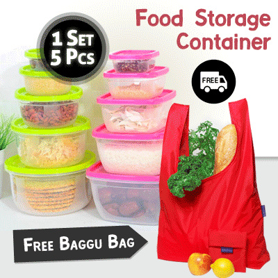 Free Baggu Bag setiap Belanja 1 Set Food Storage Container / Isi 1 Set 5 Pcs Deals for only Rp69.000 instead of Rp69.000
