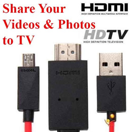 MHL to HDMI Cable adapter HDTV Samsung Galaxy S3 S4 S5 Note 2 3 Micro USB Display Smartphone to TV choice of 5 and 11 pin