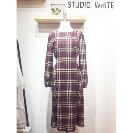 スタジオホワイトマルネチェックスリムワンピースMC911J890 面ワンピース/ 韓国ファッション
