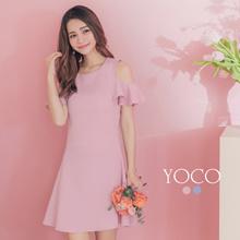 YOCO - Open-shoulder Wave Ruffle Chiffon Dress-182401