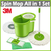[+] 3M SCOTCH BRITE Double Bucket Spin Mop + 2 Mop Heads + 2 Mop Pads ★ Interchangeable Heads