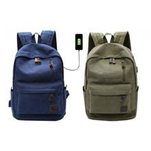 Canvas Fashion Bag Backpack Outdoor Travel Backpack Shoulder Bag With USB Port