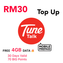 RM30 Tune Talk / Tone Excel / Tone Plus Instant Top Up * Free 4GB Data For 15Days