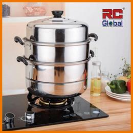RC-Global 2 Tiers 28cm / 3 Tiers 32cm Stainless Steel Steamer Soup Steam Wok