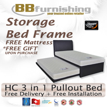 [BBFURNISHING] PULLOUT BEDFRAME + 2 SLEEPY NIGHT SLEEP DELUXE MATTRESSES/3 SET UP OPTIONS/BEDROOM FURNITURE/2 MATTRESS SIZES AVAILABLE/6 COLOURS AVAILABLE FOR BED FRAME/FREE DELIVERY + INSTALLATION