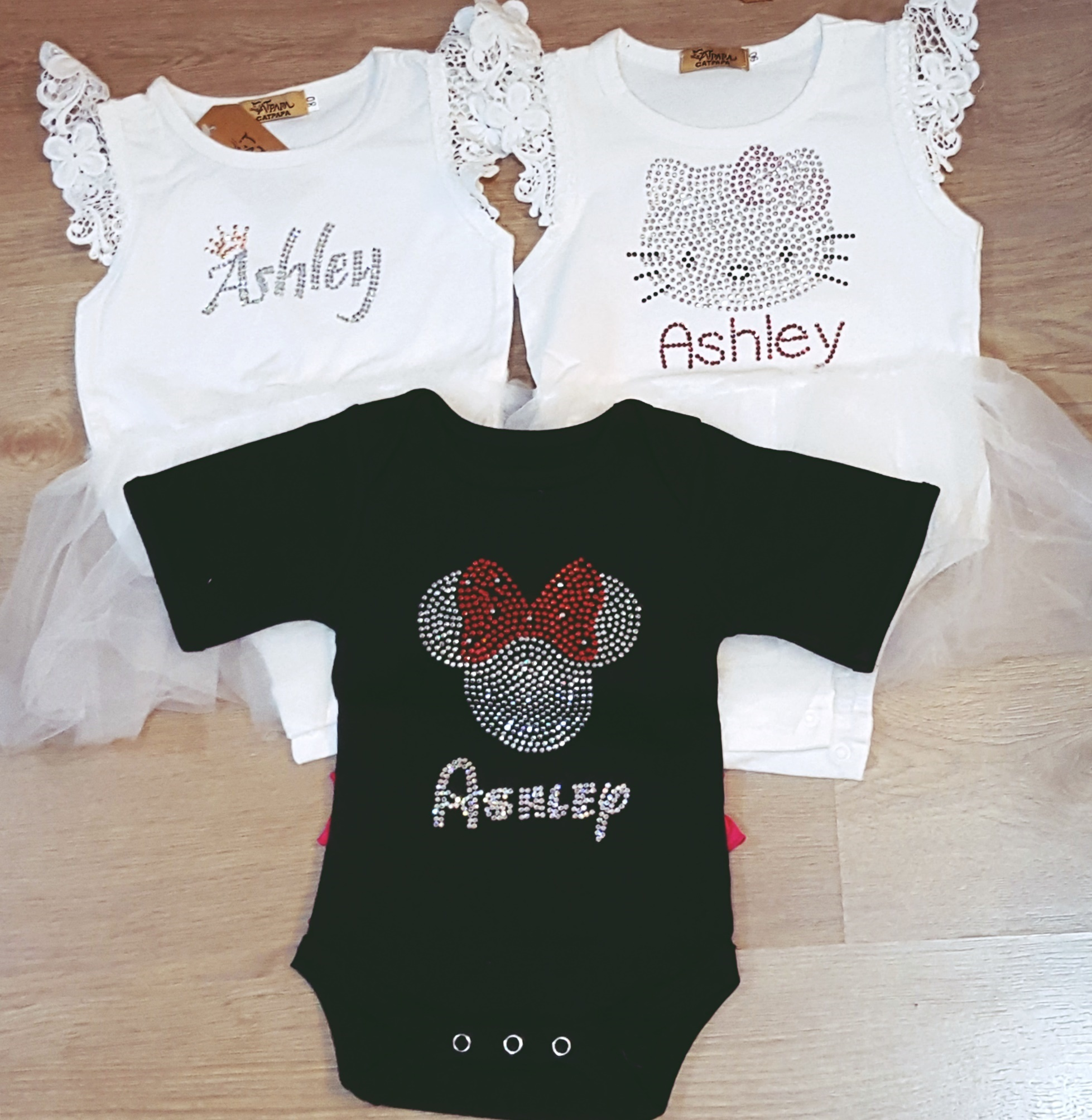 106d5c8a5 Customised Personalised Birthday Newborn Baby Clothes Rhinestone Romper  Full Month Baby Shower