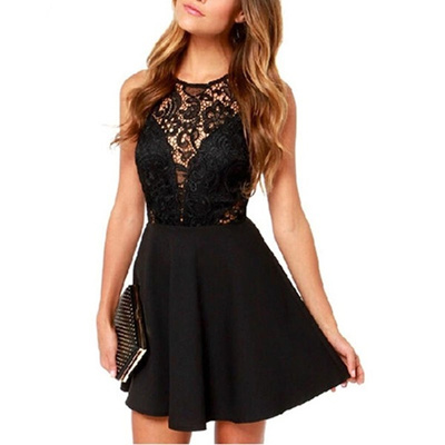 Lovef Sexy Women Lace Floral Bodycon Cocktail Party Club Sleeveless Backless Club Party Short Mi