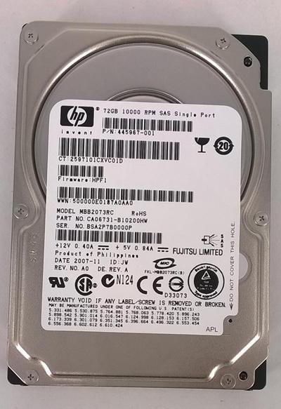 HP 72Gb SAS 10k RPM 3G rpm 2.5Inch Non HotPlug - 445967-001