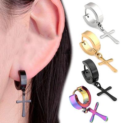 ... 1 Pair Punk Titanium Steel Stud Earring Men Cross Earrings Tassels Crosses Ear Piercing Jewelry