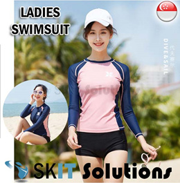 Adult Swimsuit for Ladies ★ LS-18654F ★ Long Sleeve Swimming Costume Wear Suit Set