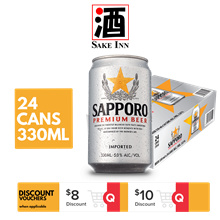 [Use Qoo10 Cart Coupon + FREE SHIPPING] Sapporo Premium Can Beer 330ml x 24cans [Expiry May 21]