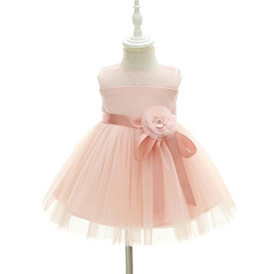 a97e572ec93b Moon Kitty Baby Girl Dress Christening Baptism Gowns Pink Flower Girl Dress