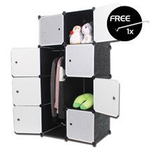【Free Shipping Peninsular】LivingCabinet 8 Cubes Dark Veins DIY Cabinet Wardrobe FOC Hanger