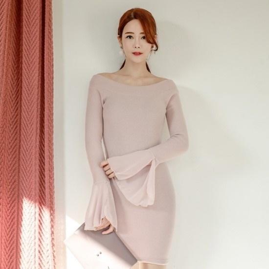 イランジ行き来するようにイランジプイリオフショルダー・シフォンガマワンピース 塔/袖なしのワンピース/ 韓国ファッション