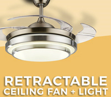 [Retractable ceiling fan with LED light ] Retractable Ceiling Fan  * 36 / 42 inch * silver / Gold