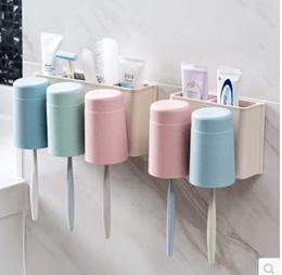 Free punch wall toothbrush holder mug set creative toothpaste toothbrush rack tooth cup holder tooth