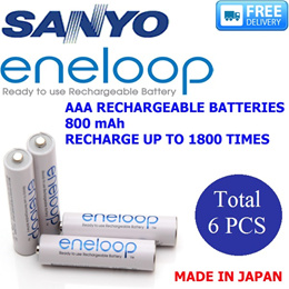 SANYO - 3 X 2PCS/PACK ENELOOP Total - 6Pcs - AAA RECHARGEABLE BATTERIES -