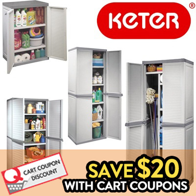 Keter Louvre Utility Cabinet Multipurpose Short Indoor For Home And Kitchen Plastic