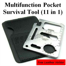 11 in 1 Multi Function Purpose Wallet Pocket Survival Tool Camping Emergency Multifunction Kit Wrench Opener Knife Saw Ruler Screw Driver Outdoor Bottle Can Key Size Company Corporate Door Gift