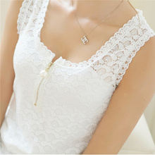 Summer Style Ladies Tube Tops Lace Blouse Shirt New Fashion 2016 Sexy Hollow Out Sleeveless plus siz