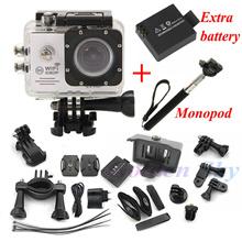 Action Camera SJ7000 Wifi 2.0 LTPS LED mini cam recorder marine diving 1080P HD DV Go pro style two batteries + monopod