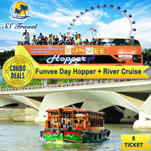[SStravel] Funvee Day hopper + River cruise ticket 1-Day Sightseeing Bus Pass + Singapore River Nostalgic Wooden Boat Tour