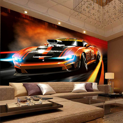 Qoo10 Photo Wallpaper Modern Creative Yellow Sport Car 3d Stereo
