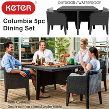 [KETER] Columbia Outdoor Dining 5pc Set | Waterproof | Plastic Table Chair Set | With Cushions