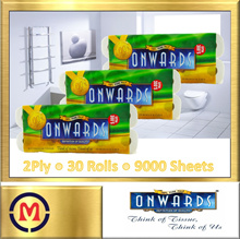 【Onwards Bathroom Tissue】100% Pure Pulp ✦ 2 Ply ✦ 300 Sheets x 30 Rolls ✦ Bundle of 3 ✦