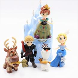 wholesale Disney Toys 6pcs/Lot 6-16cm Frozen Anna Elsa Princess Olaf Sven Kristoff And Castle Ice Pa