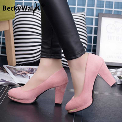 6a6d4d3a566 outlet New Arrival High Heels Platform Pumps Round Toe Thick Heels Shoes  Women Pumps Sexy Slip