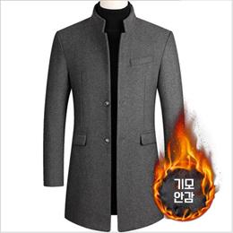 2020秋冬季男士毛呢大衣中长款风衣加棉加厚男装外套