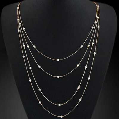 Bluelans Women s Elegant Multi Layers Long Chain Beads Charm Necklace Fashion Jewelry