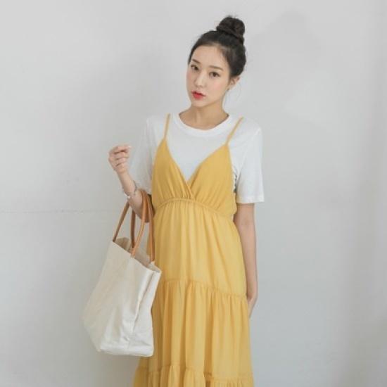 ホワイト・フォックスティーシャツセットスィポンブィスにワンピース 綿ワンピース/ 韓国ファッション