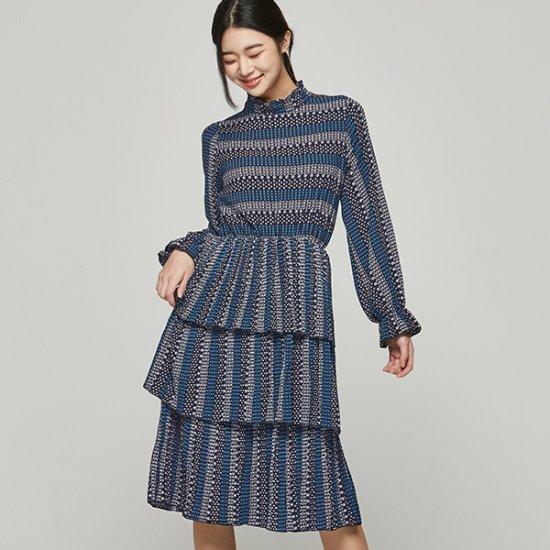 ナインNAINパターンティアード・ワンピースOP3247 面ワンピース/ 韓国ファッション