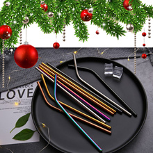 🎄🥤 Best Christmas Gift Stainless Steel straw with brush gift set Cups Mugs Metal Drinking Straw