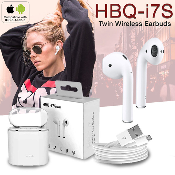 HBQ I7s TWS Apple Stereo Wireless Bluetooth Headset Earpods Apple Earpod Headset IPhone HF Deals for only Rp92.000 instead of Rp121.053
