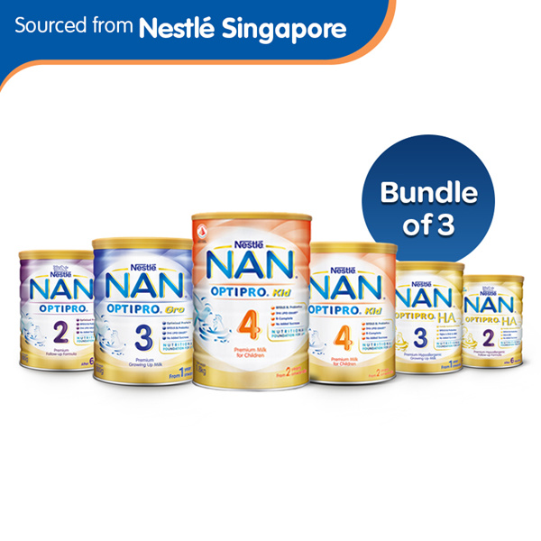Bundle of 3[Nestle]NAN Optipro 2/HA2-FollowUp Formula HA3/Gro 3/Kid 4-GrowingUp Milk 800g/900g/1.8kg Deals for only S$119.7 instead of S$0
