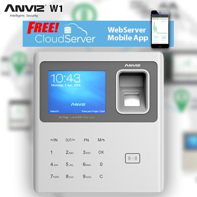 AnvizFree Cloud Server 【Anviz W1】 Biometric Fingerprint Time Attendance  Time Clock