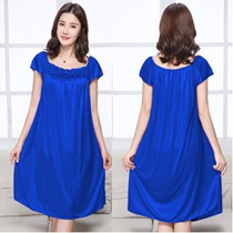 Imitation silk skirt plus fat to increase the size of silk fat MM sexy ice silk pajamas home service