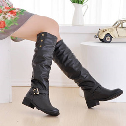 winter boots real big size 34-43 women knee high boots sexy chunky round toe autumn shoes less