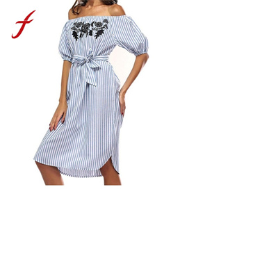 159794fcfd Women Off shoulder Dress Short Sleeve Casual Striped Beach Dress Women Sexy  Ukraine Summer Floral P