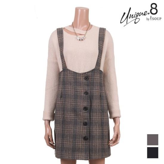 森SOUPグルレンチェックサスペンダーワンピースSTJOP07 面ワンピース/ 韓国ファッション