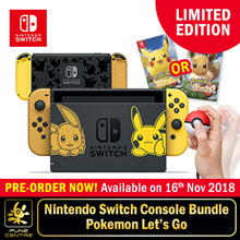 [Pre-Order] NEW! Limited Edition Pokemon Nintendo Switch Console System Bundle with Pokemon Lets Go Game. 16th November Collection!