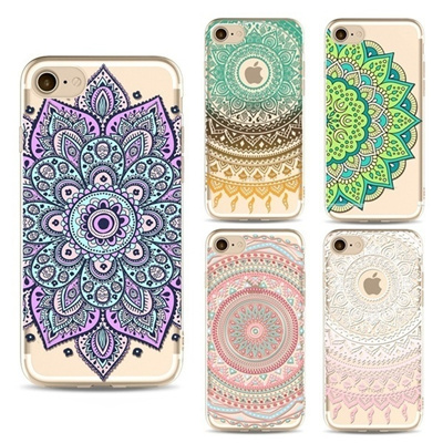 newest 32e58 831d1 Painted Mandala Phone Case for Apple Iphone 7 7plus Case TPU for IPhone 6  6s 6plus 6splus 5/5s SE Ca