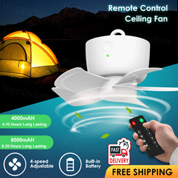 🌀Rechargeable Ceiling Fan🌀Wireless Cool Fan 8000mAh Battery Portable Fan with Timer Remote Control
